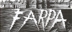 """Arte gráfica e assinatura em detalhe de Jayme Fygura. Cartaz da banda """"The Farpa"""" (1992) da qual é vocalista. Fonte: Acervo do artista."""